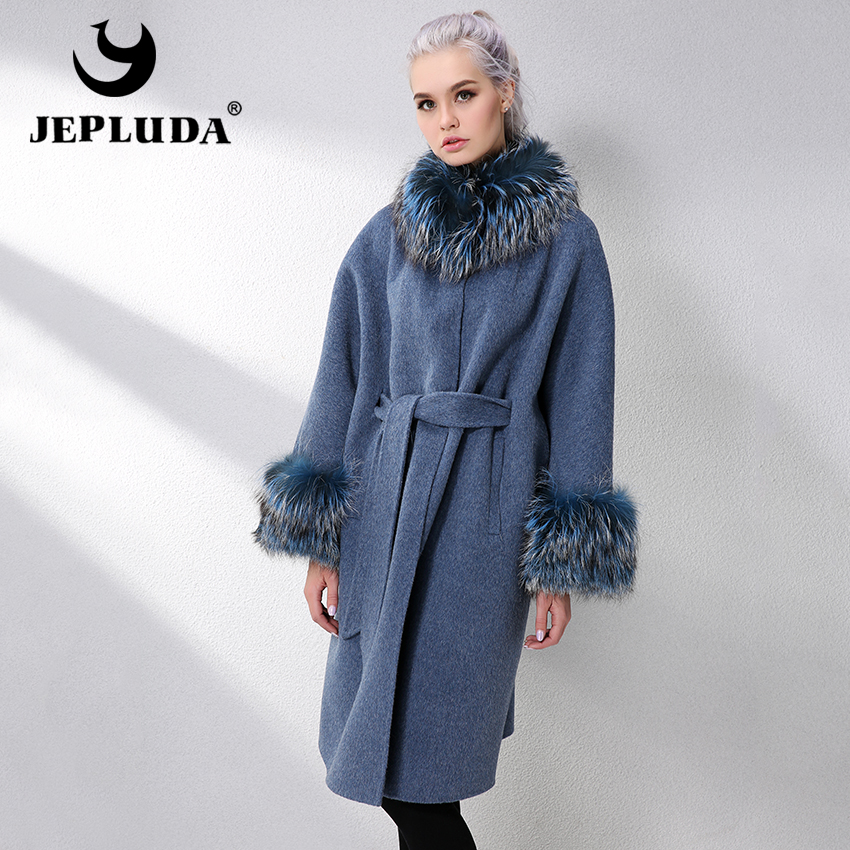 JEPLUDA Long Cashmere Coat Women Sleeve Collar With Natural Real Fox Fur Real Fur Coat Genuine Leather Jacket Women Fur Jackets