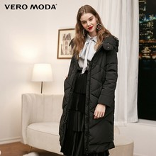 Vero Moda new hooded detachable sleeve side zipper plaid long down jacket women | 318312502(China)