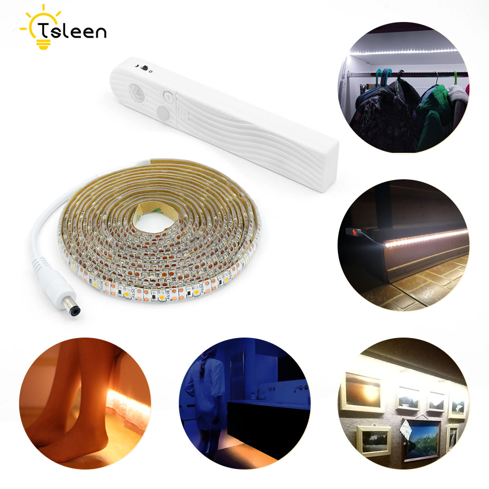 DC5V PIR Motion sensor LED strip light 2835SMD 1m 2m 3m 60leds/m LED lamp Closet lamp Wardrobe Cabinet Stairs Gate Battery Power