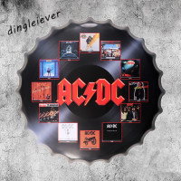 40x40cm ACDC Bottle Cap Metal Painting Vintage Home Gift Party Store Wall Decor