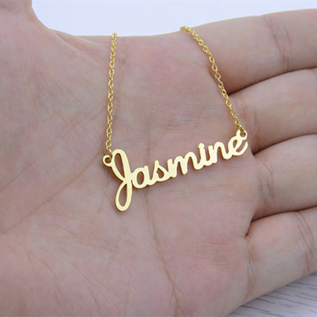 Any Fonts Customized Name Necklace Pendant Stainless Steel Chain Heart Wings Wom