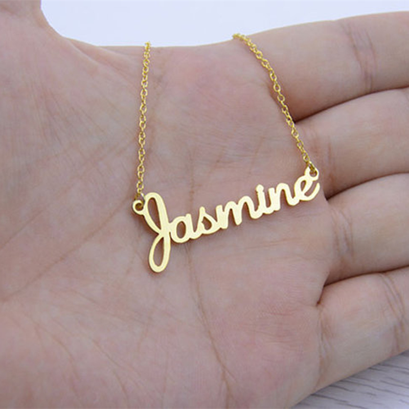 Any Fonts Customized Name Necklace Pendant Stainless Steel Chain Heart Wings Women Rose Gold Color Fashion Jewelry Bff Gift