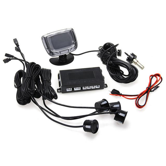 New Promotions Car LCD Display Reverse Backup Radar Rear System With 4 Parking Sensors Silver