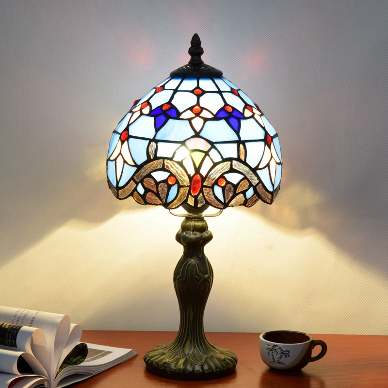 Originality color glass Blue Baroque desk lamp American Pastoral cMediterranean style Decorative trumpet light 110-240V Dia:20CM originality stained glass garden flower desk lamp american pastoral countryside hotel barbedside led lamp 110 240v dia 20cm