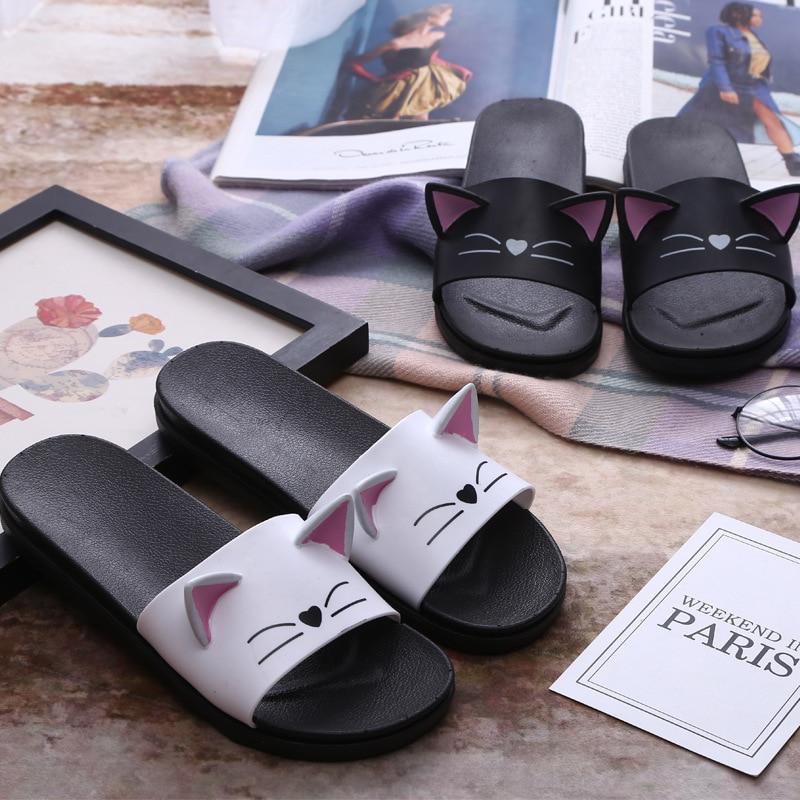 Novi preprosti risani mačji hišni nedrseči copati ženske silppers - Ženski čevlji