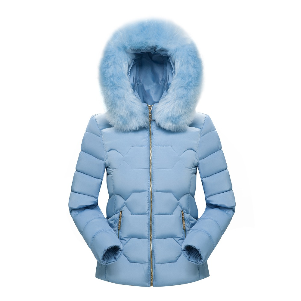 2018 Winter Faux Fur Hooded Cotton Padded Parkas Women Fashion Solid Color Casual Female Short Jacket