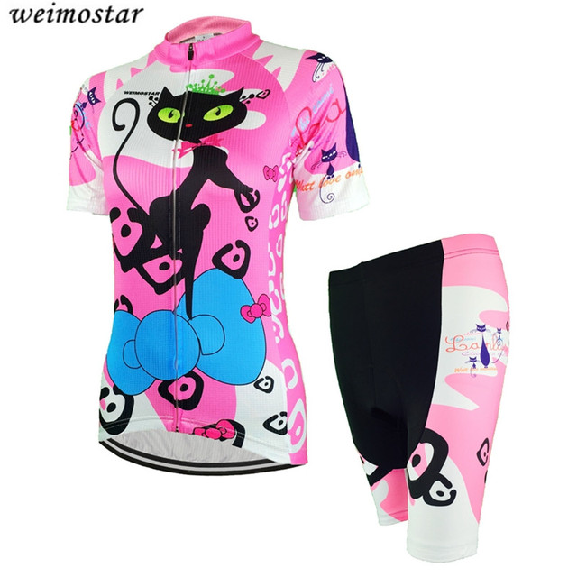 Conjunto de pantalones cortos de Jersey de bicicleta rosa para mujer Ropa  de Ciclismo de manga 4a9cc7f66