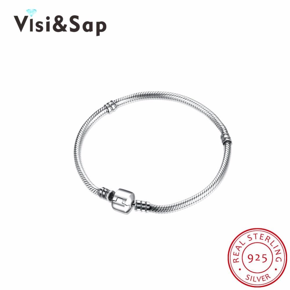 Visisap 925 Sterling Silver Jewelry Bracelets For Women Bracelet Elegant Charming Party Gift Jewelry VPDRSVH017-17 charming glaze tube shape bracelet for men