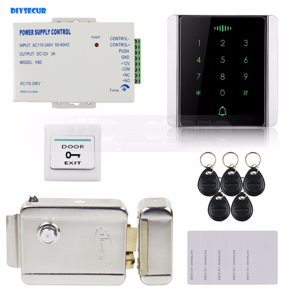 DIYSECUR 125KHz RFID Reader Password Keypad + Electric Lock Access Control System Security Kit diysecur magnetic lock remote control 125khz rfid reader password keypad door access control security system kit c40