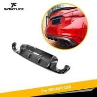 Fibra de carbono Rear Bumper Lip Difusor Spoiler para Infiniti Q50 2018 2019 Rear Bumper Lip Spoiler Carro Protetor