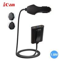 Ican Qualcomm Szybka ładowarka 3.0 ładowarka do samochodów osobowych z 4 porty usb z 1.8 m kabel do iphone 7 samsung xiaomi huawei