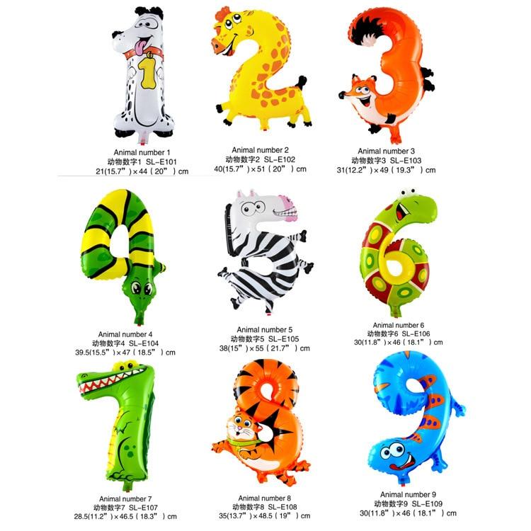 36 10 Pcs Animaux Nombre Feuille Gonflable Ballons De Mariage Joyeux Anniversaire Ballons à Air Ballon Enfants De Cadeaux Jouet Gonflable Dans
