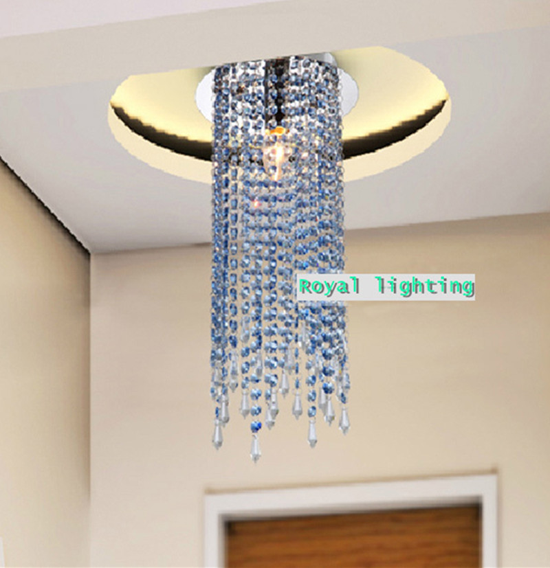 Hallway 1 pcs crystal ceiling lamp E14 110-240V balcony Mini blue Crystal  light luminaria Corridor aisle bar led ceiling lights led crystal light aisle small vestibule spiral staircase chandelier lamp corridor hallway lights balcony aisle lighting