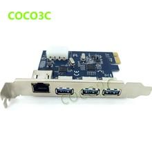 PCI-e à Externe 3 ports USB 3.0 + RJ45 Gigabit Ethernet carte Réseau USB3.0 + 1000 M LAN Combo PCI express card