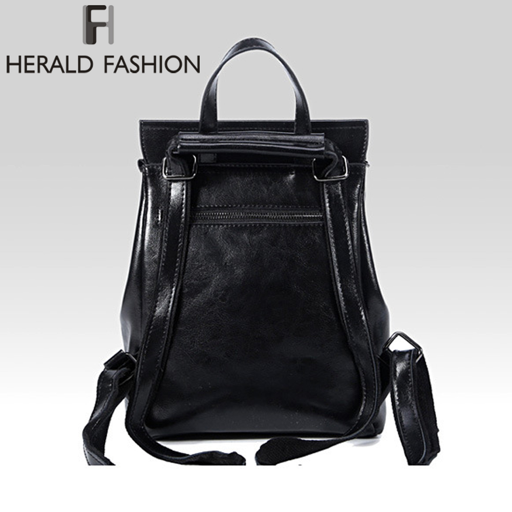 HERALD FASHION Genuine Leather Backpack Vintage Cow Split Leather Women Backpack Ladies Shoulder Bag School Bag for Teenage Girl in Backpacks from Luggage Bags