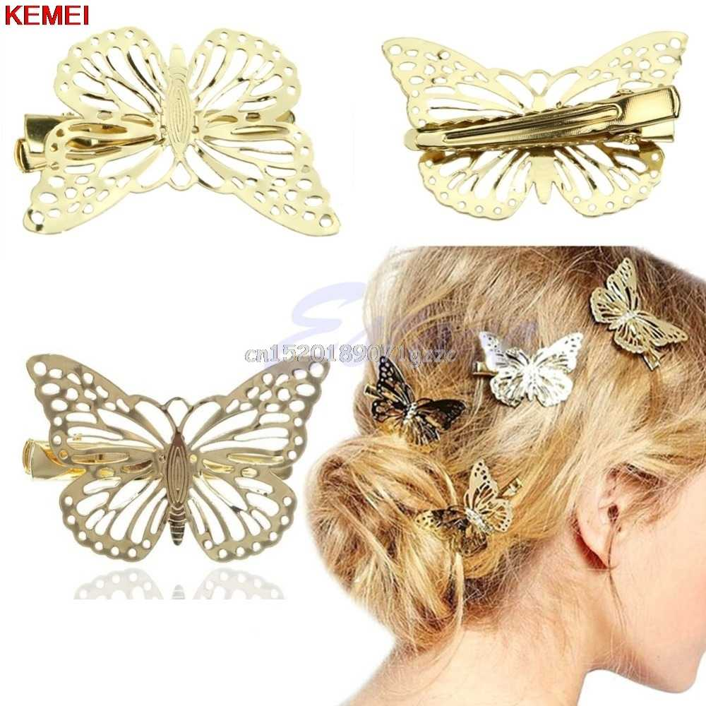 S425 Beautiful Girly Metal Large Blue/&Orange Glittery Butterfly Hair Clip