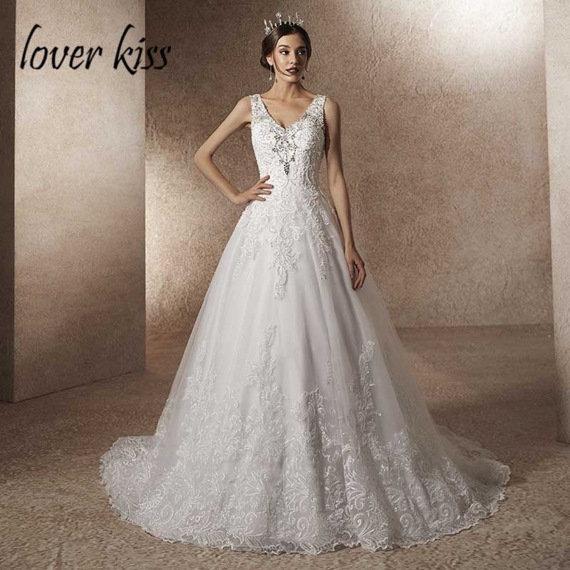 Lover Kiss Vestido De Noiva 2019 Luxury A Line Rhineston Pearls Wedding Dress with Train V