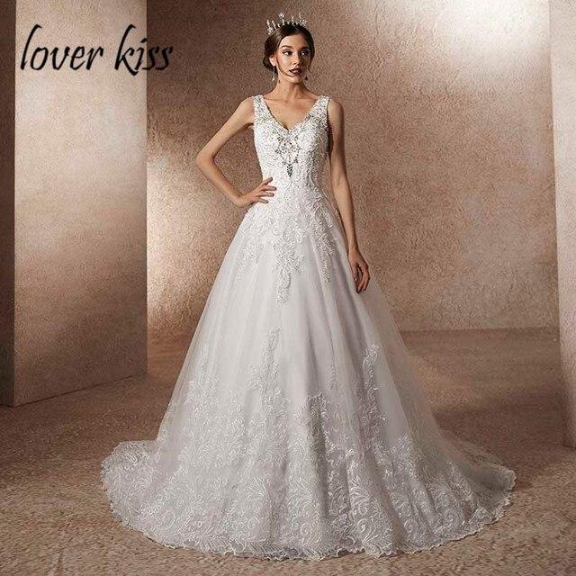 Amante beijo vestido de noiva de luxo com trem a linha strass pérolas v pescoço laço vestido de noiva robe de mariage