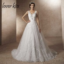 Lover Kiss Vestido De Noiva Luxury Wedding Dress with Train A Line Rhineston Pearls V Neck Lace Bridal Gown robe de mariage
