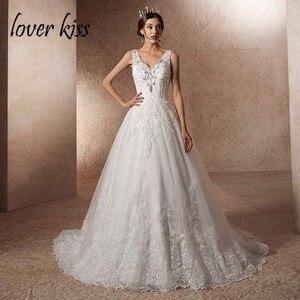 Image 1 - Minnaar Kus Vestido De Noiva Luxe Trouwjurk Met Trein Een Lijn Rhineston Parels V hals Lace Bruidsjurk Robe de Mariage