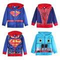 2016 Hot New Mens Primavera Outono Casacos Com Capuz de Super-heróis Batman Superman Moletom Com Capuz Preto Camisola Azul para Venda