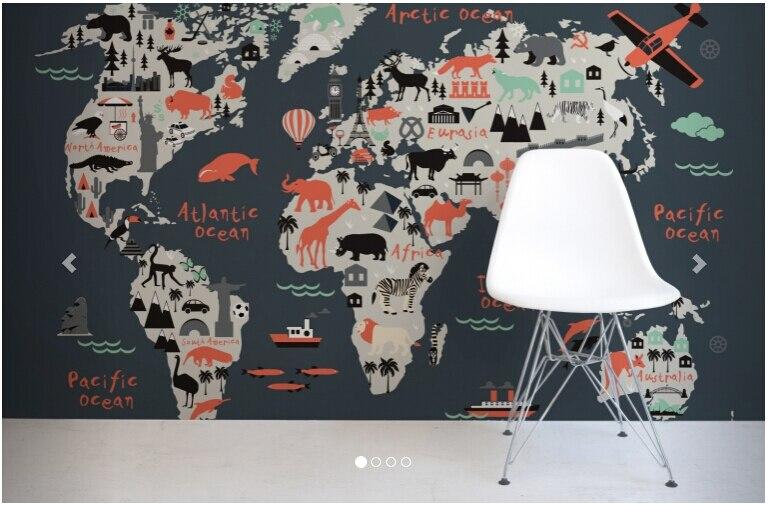 Papier de parede infantil fait sur commande, papier peint DE carte d'enfants de repère pour le salon canapé chambre TV mur imperméable DE parede de vinyle