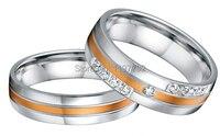 Пользовательские мужского покроя Роза цвет золотистый декор здоровья хирургические titanium стали обручальные кольца наборы для него и для не