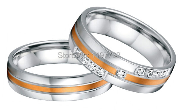 custom tailor made rose gold color inlay health surgical titanium steel wedding bands rings sets for him and her