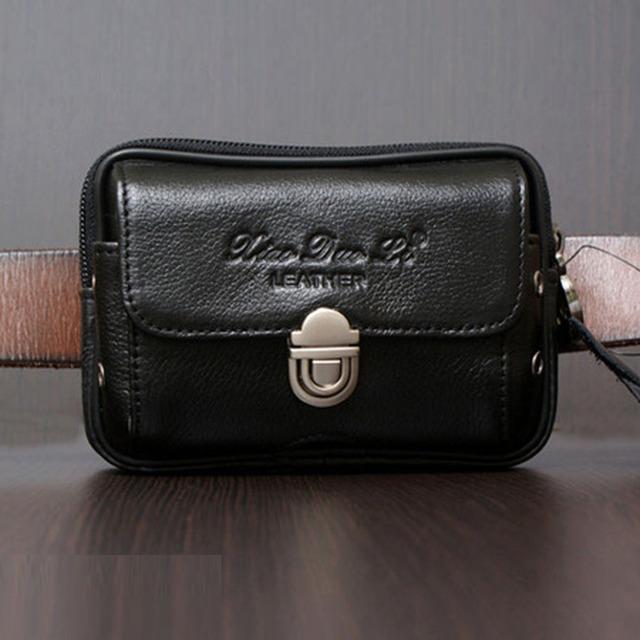 Homens Cinto de Pele De Couro Genuíno Real Bolsa Fanny Pack Saco Da Cintura Hip Bum Celular Pequeno Saco Móvel/Caixa Do Telefone