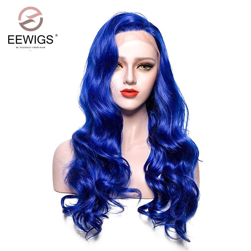 Syntetisk Snörning Fram Paryk Lång Kroppsvåg Blå Paryk Färg Ljus - Syntetiskt hår