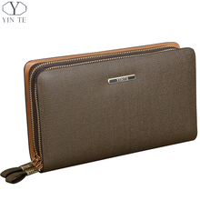 YINTE 2016 Men's Clutch Wallets Leather Handbag High Quality Zipper Wallet Men Business Passport Purse Card Bag Portfolio T019-1
