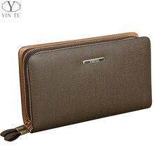 YINTE 2016 Men's Clutch Wallets Leather Handbag High Quality Zipper Wallet Men Business Passport Purse Card Bag Portfolio T019-1