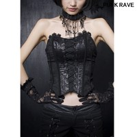 Fashion Black Sexy dinner party Vest Gothic Vampire Rock Bandage Lace Tail Womens Outerwear coat Punk Rave Y 304