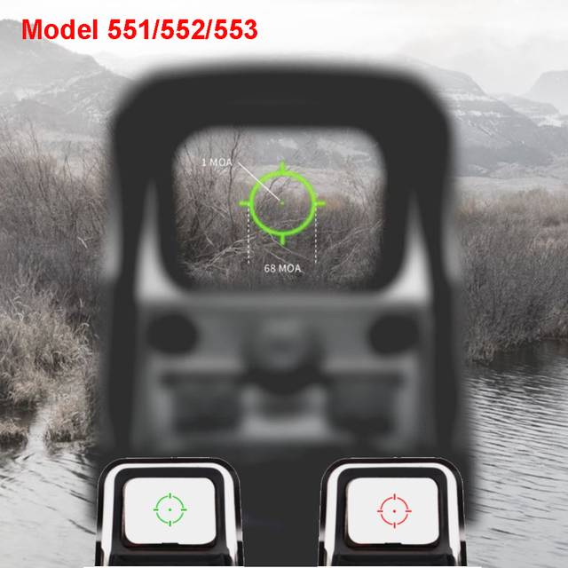 New Aluminum Tactical Red Green Reticle Riflescope 1x Holographic Red Green Dot Sight Brigthness Adjustable 551 552 553 Black
