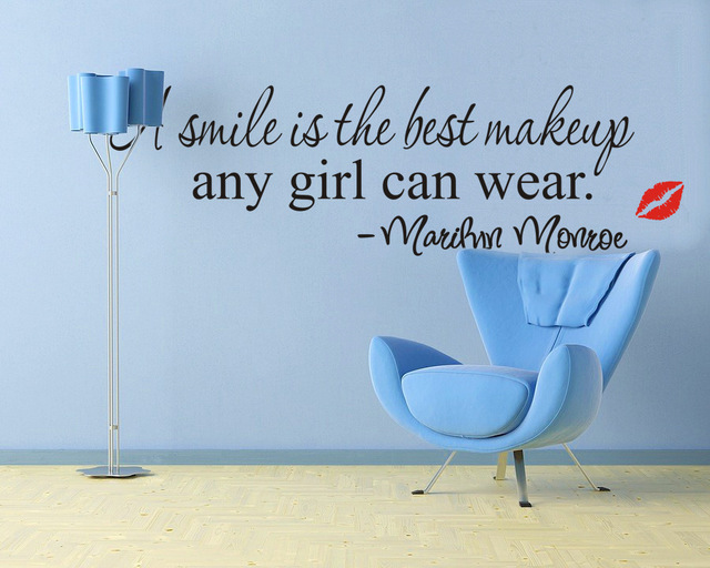 A Smile Is The Best Makeup Wall Stickers Marilyn Monroe Quotes Lips