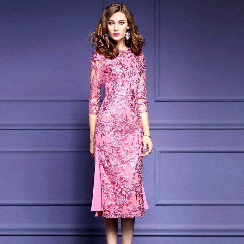 Womens elegante malla ganchillo Bordado partido vestido de ocasión ...