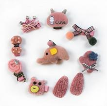 10pcs/lot Handmade toddlers hair clips for girls thin Fluffy animal  crwon bow hairpin kids accessories