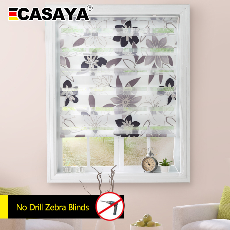 CASAYA Cheap Printed Zebra Blinds No Drill 100 Polyester Eco Friendly Double Layer Zebra Blinds Day