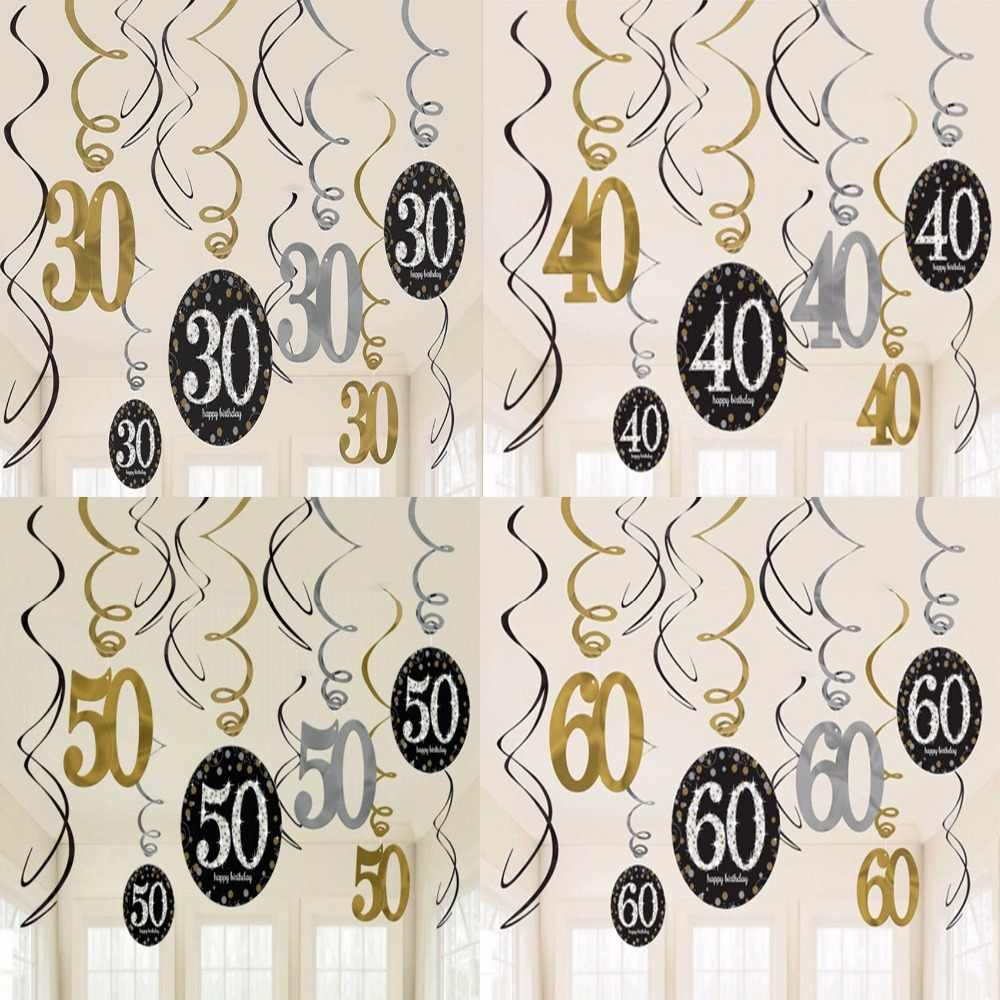 12pcs/lot 18/21/30/40/50/60/70/80/90 Year Old Plastic Spiral Ornament Happy Birthday anniversaire Ribbon Adult Party Decorations