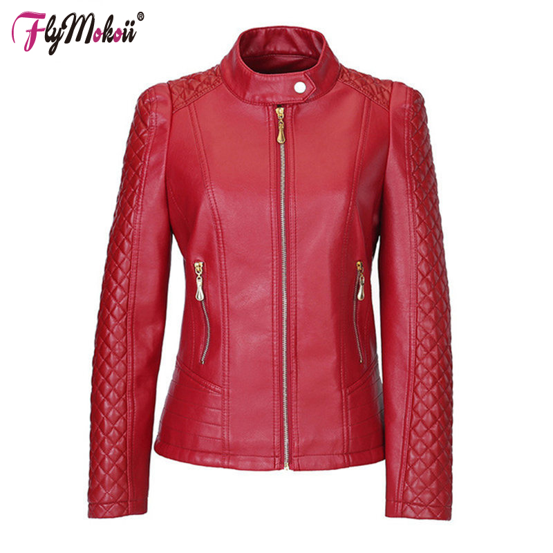 Flymokoii Women Leather Jacket Spring Plus Size 4XL 5XL Women Motor Jackets Solid Slim PU Leather Lady Motorcycle Jackets Coats