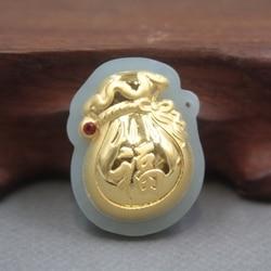 New 24 K Kuning Emas Natural Jadeite Jade Wanita Pria Tas Memberkati Liontin 30x22mm