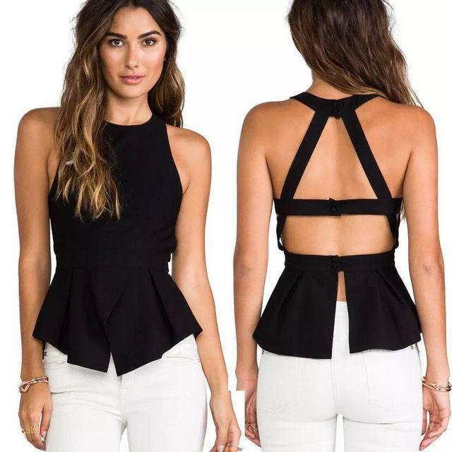 2016 HL backless Ruffles de la mujer tee tops sin mangas atractivo del bodycon del vendaje del rayón mujer ropa H1755