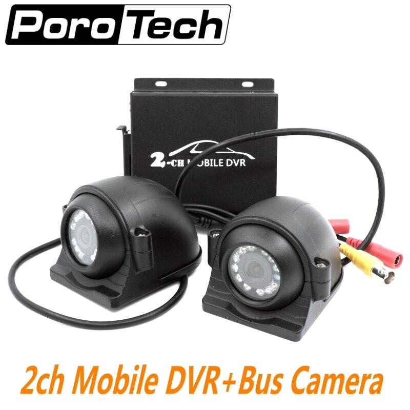 2CH Mobile DVR Bus Véhicule Enregistreur Vidéo de voiture DVR with I/O Alarme De Détection De Mouvement Max Jusqu'à 128 GO Carte SD avec 2 pièces caméra + câble