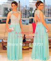 0209433699 2014 New Arrival Wedding Party Dress Nude Back Lace Top Mint Green  Bridesmaid Dresses Long Vestido