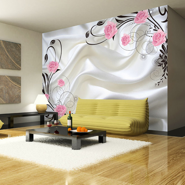 Romantic Wallpaper Pink Rose Smooth Silk Wall Mural Sitting Room Sofa  Background Large Murals 3D Wallpaper Part 51