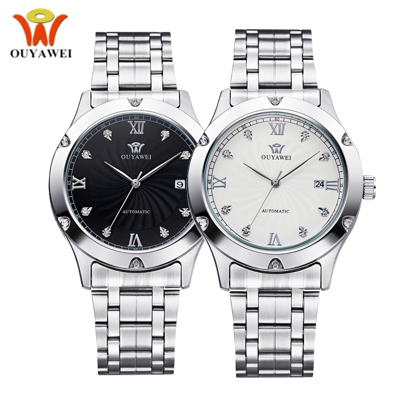 OUYAWEI Silver Steel Water resistance Date Mechanical Watch Men Automatic Self-wind Mens Wrist Watches Luxury Business Clock tevise men automatic self wind gola stainless steel watches luxury 12 symbolic animals dial mechanical date wristwatches9055g
