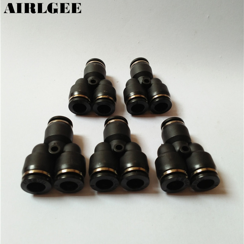 5pcs 8mm to 8mm Y Shaped 3 Ways Quick Joint Air Pneumatic Fitting Connector Black платье apart платья и сарафаны приталенные