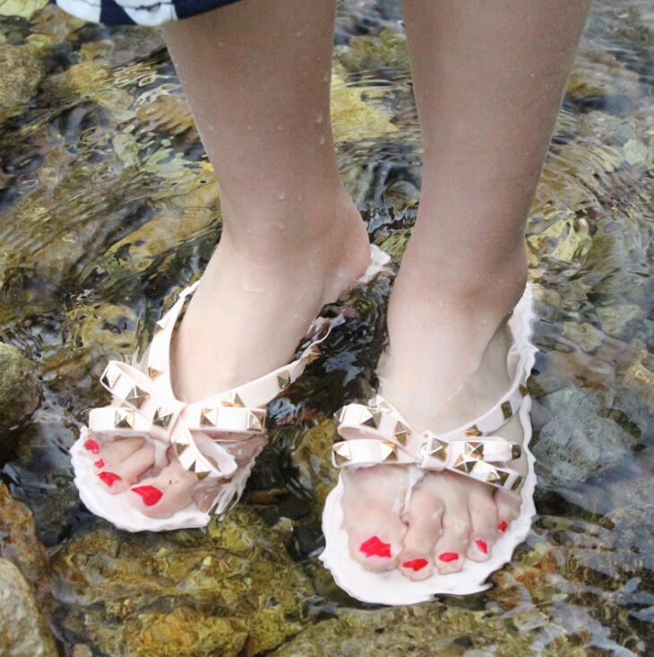 2018 New Summer Jelly Shoes Flat Bow Knot Rivets Flip -2976