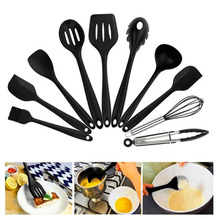 10PCS/SET Environmental Safe Silicone Cooking Tools Practical Home Kitchen Dinnerware Tableware Cooking Gadgets Tools Dropships