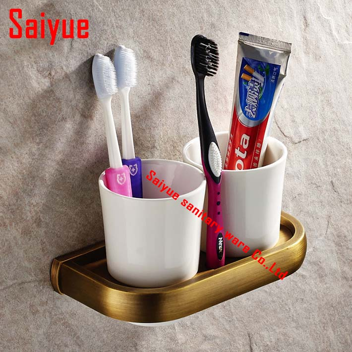 Modern Design Toothbrush Holder Bathroom Accessories OrganizerCup & Tumbler Holders Ceramic  dual Cup Wall Mount antique  brass silver polish cup holder modern double tumbler holder flower design cup toothbrush holder bathroom accessories